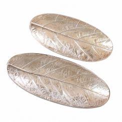 2pc Oval Leaf Decorative Plates | Gold