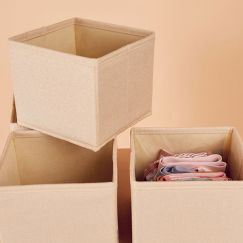 4 Pack Clothes Storage Boxes in Vanilla Linen | Small Size