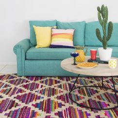 Amaya Flatweave Rug by Sugarcane Trading Co | Handwoven, upcycled colourful rug