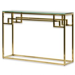Anderson 1.15m Console Glass Table | Brushed Gold Base | Interior Secrets