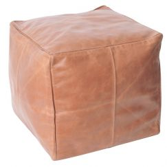Axel Leather Ottoman | Tan | BY SEA TRIBE