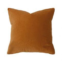 Bambury Velvet Square Cushion | 50 x 50cm | Feather Filled | Sienna
