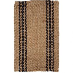 Basket Weave Jute Rug With Black Chain Stripe