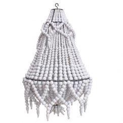 Beaded Chandelier | White | by Raw Decor