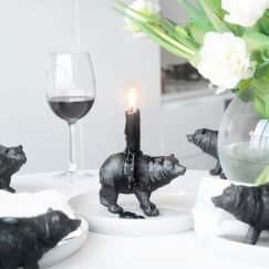 Bear Candle Holder (6 Pack) | Black | White Moose