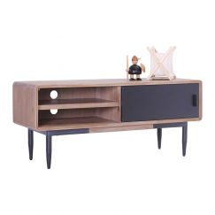 Binder TV Entertainment Unit | 130cm | Acacia Solid Wood | Black & Taupe