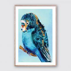 Blue Budgie #2 | Framed Giclee Art Print
