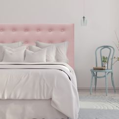 Blush Pink Velvet Buttoned Upholstered Bedhead   All Sizes   Custom Made by Martini Furniture