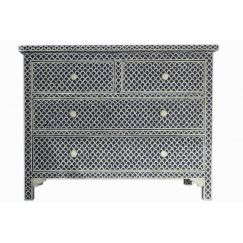 Bone Inlay 4 Drawer Chest in Fishscale Navy