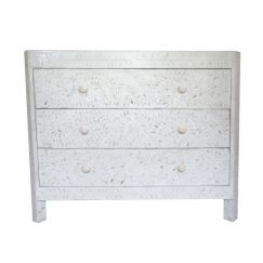 Bone Inlay White Floral 3 Drawer Chest