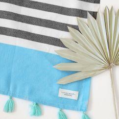 Bora Bora Turkish Towel   Black & Turquoise