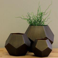 Brass Colored Iron Pentagon Vases | Set of 3 by SATARA