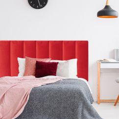 Bright Red Velvet Panelled Upholstered Bedhead | All Sizes | Custom Made by Martini Furniture