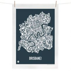 Brisbane Map | Tea Towel by Burbia