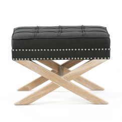 Brooke Ottoman Stools Oak Legs | Charcoal | by Black Mango