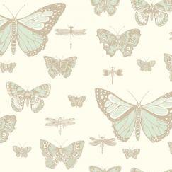 Butterflies & Dragonflies Wallpaper - Green & Cream