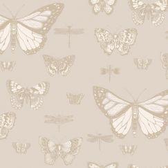 Butterflies & Dragonflies Wallpaper - Grey & Gold
