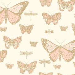 Butterflies & Dragonflies Wallpaper - Pink & Cream