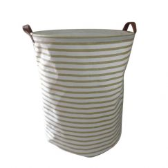 Canvas Storage Basket Gold Stripes