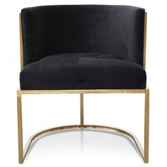 Carma Lounge Chair In Black Velvet Seat | Brushed Gold
