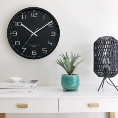 Carter Black Silent Sweep Wall Clock 40cm by One Six Eight London