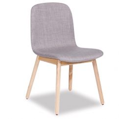 Castle Scandinavian Timber Dining Chair | Natural American Ash in Grey Linen Upholstered Seat