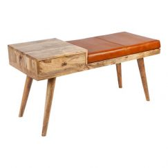 Castor Leather and Wood Bench | Fab Habitat Australia