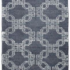 Chains Link Cotton/Bamboo Silk Rug | Blue