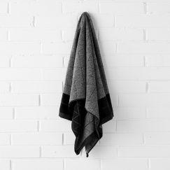 Chambray Border Bath Sheet | Black by Aura Home