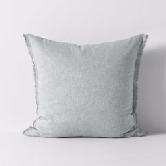 Chambray Fringe European Pillowcase | Limestone | by Aura Home