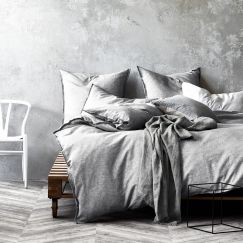 Chambray Fringe Quilt Cover | Dove by Aura Home