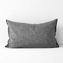 Chambray Fringe Standard Pillowcase | Smoke by Aura Home