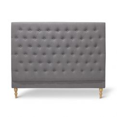 Charlotte Chesterfield Bedhead | Queen | Wolf Grey | by Black Mango