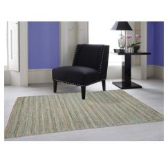 Charm Natural Aqua | Handwoven Jute Rug | Various Sizes