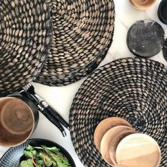 Cocina Set of 6 Handwoven Charcoal Placemats by SATARA
