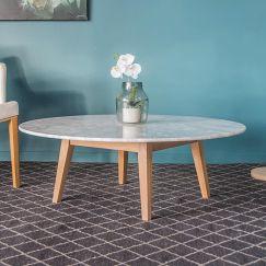 Copenhagen | Italian Carrara Marble Solid Oak | 100cm Round Coffee Table
