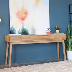 Copenhagen | Solid European Oak | Long Hall Entrance Console Table | 3 Draws