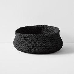 Crochet Basket Extra Large Low | Black by Aura Home