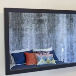 """Custom Made TV Mirror with Matte Black Frame 