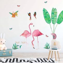 Cut-And-Stick Jungalow Flamingo Set | Wall Decal