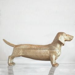 Dachsund Secret Bowl | Gold | White Moose