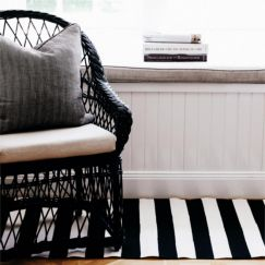 Dash & Albert Catamaran Stripe Black & Ivory Indoor/Outdoor Rug | 60 x 91cm