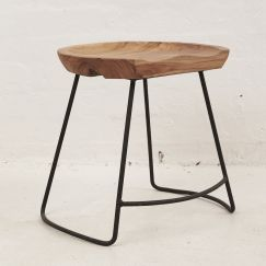 Demir Shaped Stool w Iron Legs Short