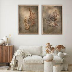 Earthy Ferns 2   Set of 2 Art Prints    Unframed