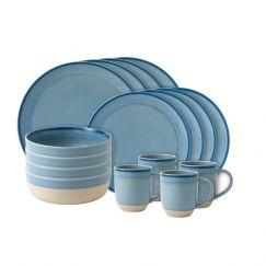 ED Ellen DeGeneres collection - 16 Dinner Piece Set Brushed Glaze Polar Blue