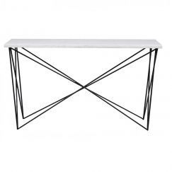 Elle Criss Cross Marble Console | Brass or Black Legs | Pre Order