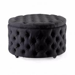 Emma Storage Ottoman Large | Black | by Black Mango