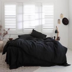 Eve Linen Quilt Cover Set | Black | Various Sizes