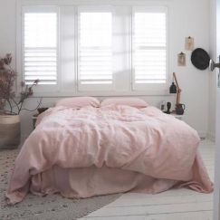 Eve Linen Quilt Cover Set | Blush | Various Sizes