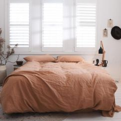 Eve Linen Quilt Cover Set | Terracotta | Various Sizes